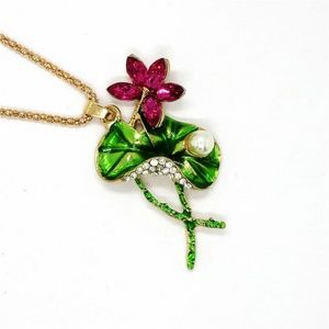 Jewelry - New Pink Lotus Flower Lily Pad Pearl Necklace Long